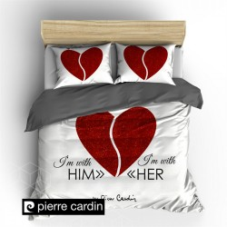 POSTELJNINA DC PIERRE CARDIN HIM/HER WHITE RED, 140X200/220
